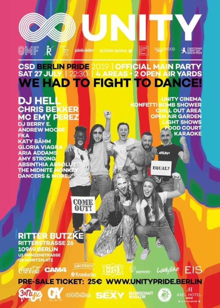 Unity Party 2019: Official Berlin Pride Main Party