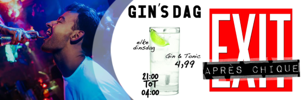 Every Tuesday at the Exit Café Amsterdam get Gin-Tonic for 4,50 €