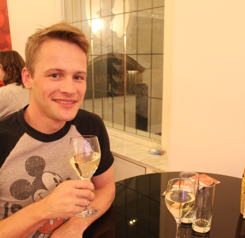 Philipp enjoys a glass of wine during the break of MAMMA MIA