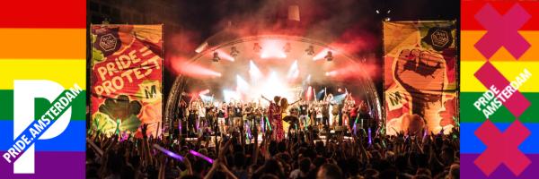 LGBT Closing Party von Pride Amsterdam auf dem Dam Platz in Amsterdam