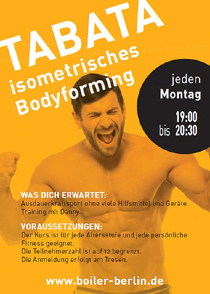 TABATA Isometric Bodyforming - Course @ Boiler Berlin (every Monday)