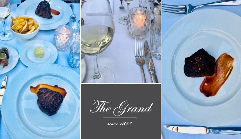 The Grand Dinner - tender steak and exclusive wine list
