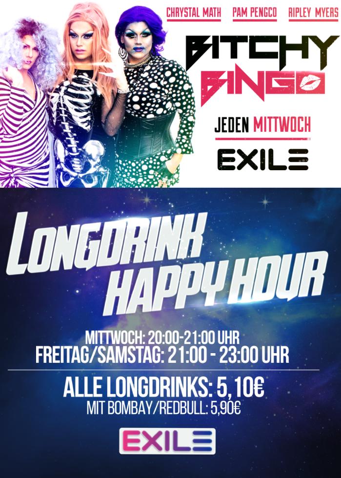 Exile Gay Bar in Köln - Happy Hour und Bingo jeden Mittwoch
